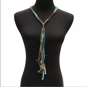 Jewelry - Boho leather tassel charm necklace turquoise brown